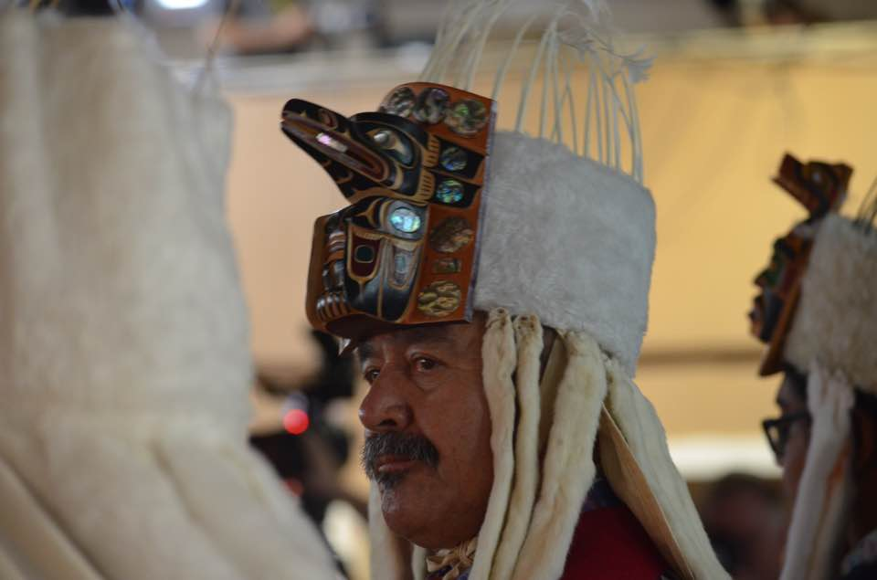 Roy in his Peace Dancer headdress. Photo by Shawn Kennedy